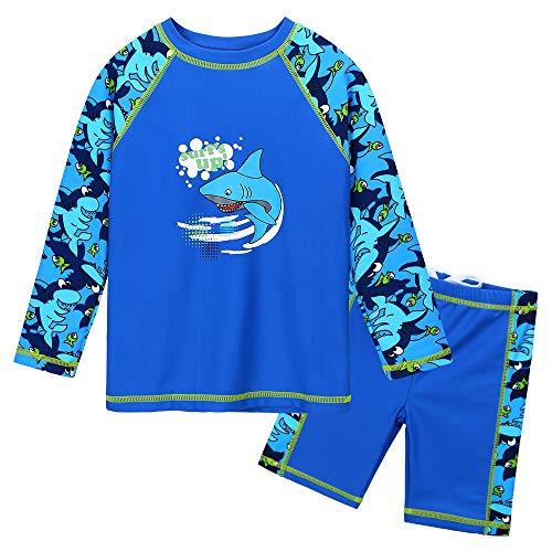 HUAANIUE Baby Jongens Badpak Blauw Auto 6M-3Y Longsleeve Twee Stuk Zwemmen Set Meisjes Badmode Snelle Drogen Zwemmen Rash Guard Jongens Kostuum