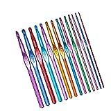 JANEMO Juego de agujas de ganchillo de aluminio, 14 tamaños, 2 mm a 10 mm, varios colores, para hacer mantas, ropa de mascotas, sombreros, toallas, guantes, etc.