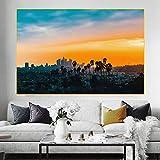 ZGZART Pintura en Lienzo HD Impreso en el Centro de Los Ángeles Póster de Paisaje Puesta de Sol Cuadro de Lienzo Decoración del hogar Carteles e impresiones-60X90cm (Sin Marco)