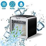 FuLov Aire Acondicionado Portátil USB 3 En 1 | Ventilador Personal para Enfriador De Aire | 10 W | Niveles De Enfriamiento De 3 Velocidades | 40Db De Poco Ruido | Tanques De Agua De 380 Ml,Negro