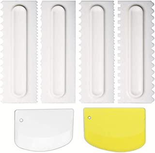 6pcs Cake Scraper Americoc Cake Decorating Comb Icing Smoother Tools Buttercream Scraper with Bake Pastry Cutter for Kitchen DIY Baking