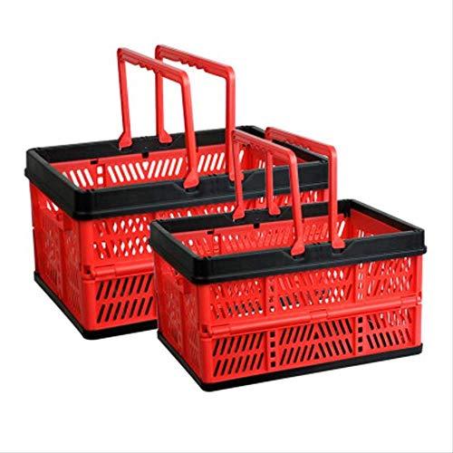 MYKK Sac de Courses Panier D achats Pliant Panier Pique-Nique Collations Fruits Et Légumes Panier Pliant Home Kitchen Storage Basket 45x32x26cm Noir Rouge