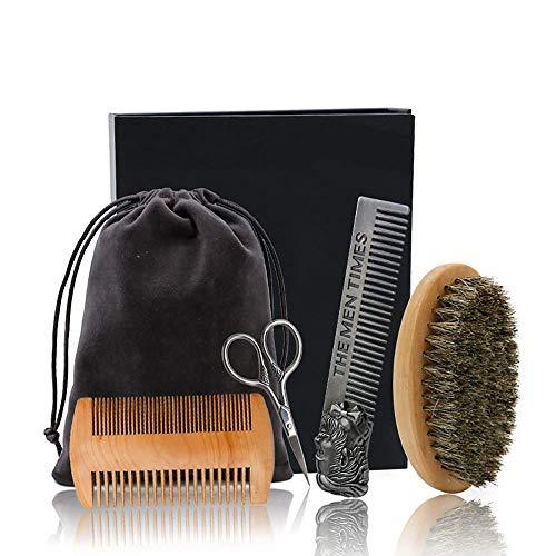 4 Teile/satz Bartbürste Kamm Herren Schnurrbart Haarpflege Pflegeset Schere Schere mit Tasche Styling Werkzeuge