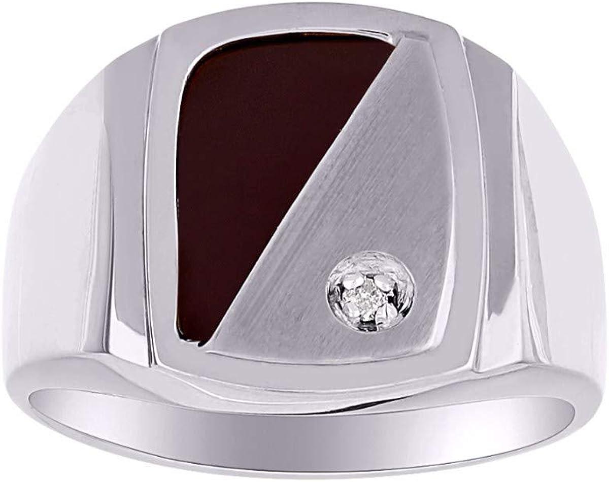 Anillo de diamante y ónix para hombre en plata de ley, corte especial de ónix negro natural para este anillo.