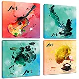 Colorful Music Canvas Wall Art Prints 4 Pieces Watercolor Beating Notes Painting Pictures for Bedroom Living Room Decor, Framed 12x12 Inches