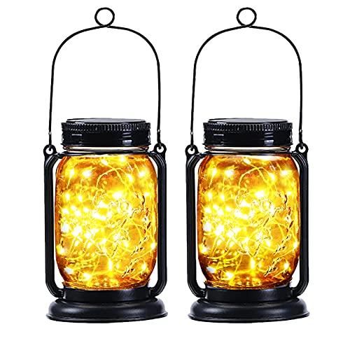 2 Pack Yeuago Mason Jar Solar Lights Halloween Decorations...