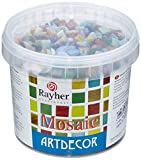 """Rayher mosaà¯que de verre 1 x 1 cm €"""" mélange de tesselles mosaà¯que seau de 1 kg (env. 1300 pièces) €"""" carreaux mosaà¯que idéals pour la décoration dans la maison et à l€™extérieur €"""" multicolore"""
