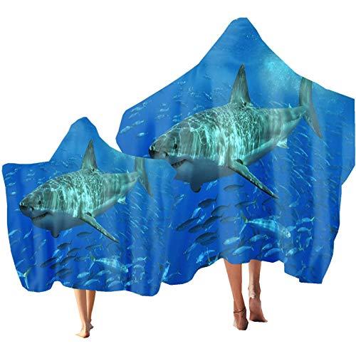 Toalla de Playa Toalla con Capucha para Niños Oceano Animal Delfín Tortuga Marina Tiburón Impresión Padre-Hijo Poncho Toalla Vacaciones de Playa Nadar Navegar Regalo (Color 4, Niño: 130 × 150 cm)