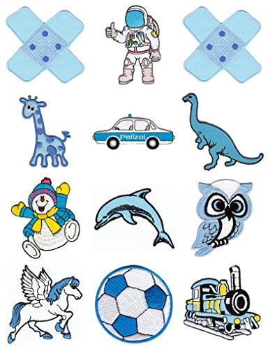 Blaue Kinder Aufnäher Spar-Set 12 Stück Bügelbilder Applikation