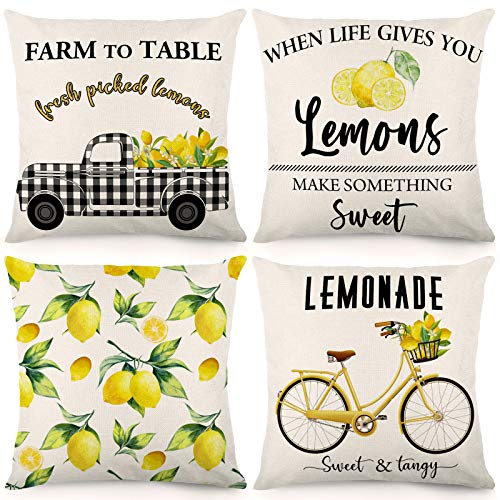 CDWERD Summer Lemon Pillow Covers 18x18 Inches Set of 4 Buffalo Check Summer Decorations Farmhouse Throw Pillowcase Linen Cushion Case Home Decor for Spring Summer