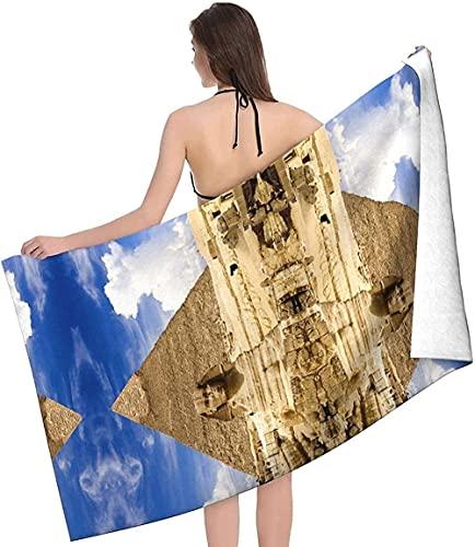 LUYIQ Toalla de Playa Grandes de Antiarena de Microfibra para Hombre Mujer, Pirámides de Egipto -150x70cm, Toallas Baño Secado Rapido para Piscina, Manta Playa, Toalla Yoga Deporte Gimnasio