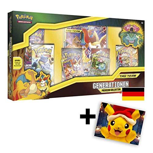 Lively Moments Pokemon Karten Tag Team Generationen Premium-Kollektion DE Deutsch + GRATIS Grußkarte Weihnachtspikachu