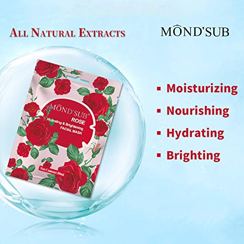 [12 Sheet]Hydrating&Moisturizing Facial Mask- Best Sheet Mask For Dry Skin- Instantly Brightening& Lightening Your Skin |Organic Collagen Essence Extracts Rose Flowers Oil| All SKIN TYPES [MOND'SUB]