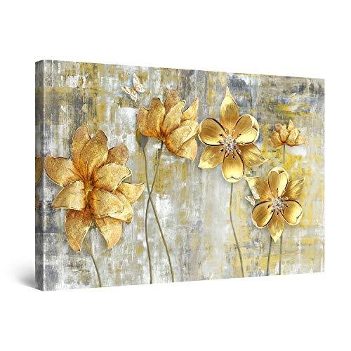Startonight Cuadro Moderno en Lienzo - Grunge de Flores Doradas - Pintura Abstracta para Salon Decoración 60 x 90 cm