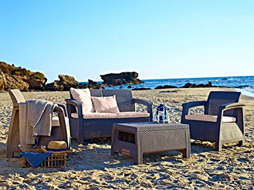 Keter Corfu Resin Wicker Outdoor Loveseat Patio Couch with Washable Cushions - Perfect for Balcony,...