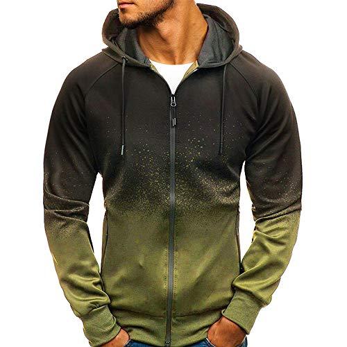SFYZY Herren Sweat Zip Hood Sweatjacke 3D Digital Print Hoodie Gradient Design Zip Langarm Sweatshirt