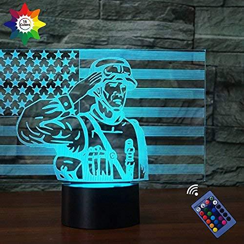 Optische Täuschung 3D-Soldat 3D-Flagge Nachtlicht 16 Farben wechselnde USB Power Fernbedienung Touch Switch Decor Lampe LED Tisch Schreibtisch Lampe Kinder Geburtstag Weihnachten Weihnachtsgeschenk