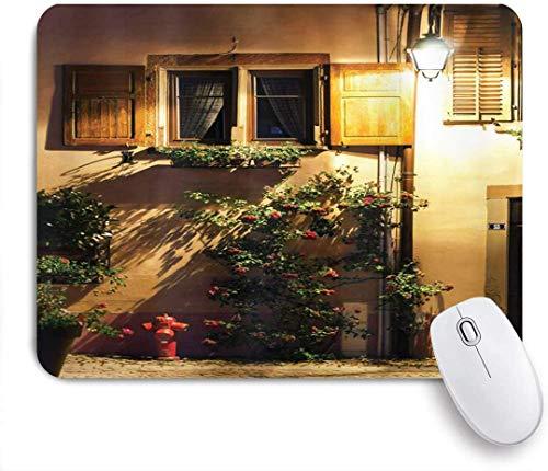 Gaming Mouse Pad rutschfeste Gummibasis, Fernweh Elsass Village Street View Frankreich Sommer Landschaft Laterne Schatten Bilddruck, für Computer Laptop Schreibtisch