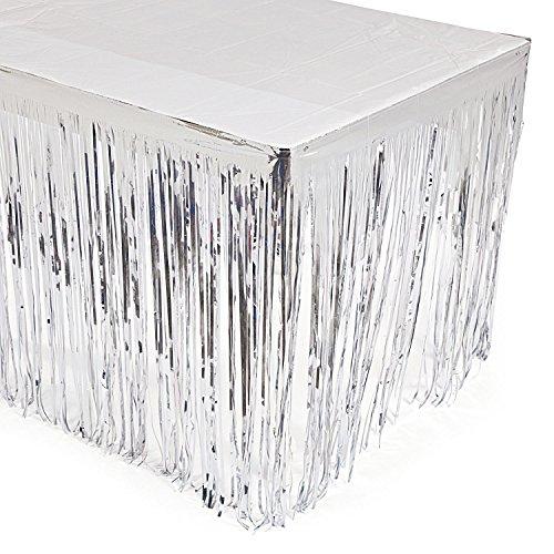 cama24com Silvester Tischumrandung in Silber aus Folie Tischdeko 2,74m Palandi®