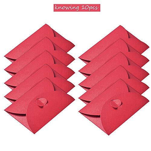 10 Piezas Sobres Papel kraft Rojo, Sobres Hebilla en Forma Corazón, Sobres Papel kraft Retro, para Invitaciones, Escritura, Postales, Regalos (11 * 17.5cm)