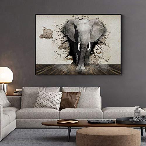 Wenqike Elefante Africano salga de la Pared Carteles e Impresiones Lienzo Pintura habitación Pared Arte Animal Imagen decoración del hogar 30x40cm