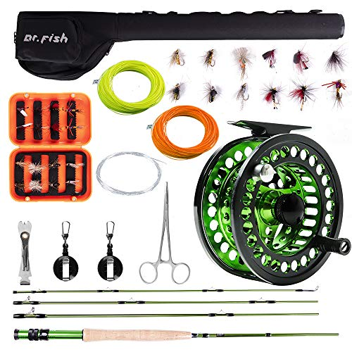 Dr.Fish Fly Fishing Outfit Rod and Reel Combo, 4 Pieces 9FT IM8 Carbon Fiber Fly Rod, 5/6 CNC Machined Aluminum Pre-spooled Fly Reel, 16 Fishing Flies and Lightweight Portable Case