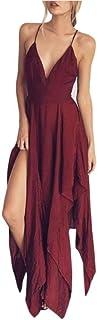 Clearance! Ruhiku GW Women's Sexy Dress Deep V Neck Backless Irregular Beach Party Dresses Boho Summer Wear