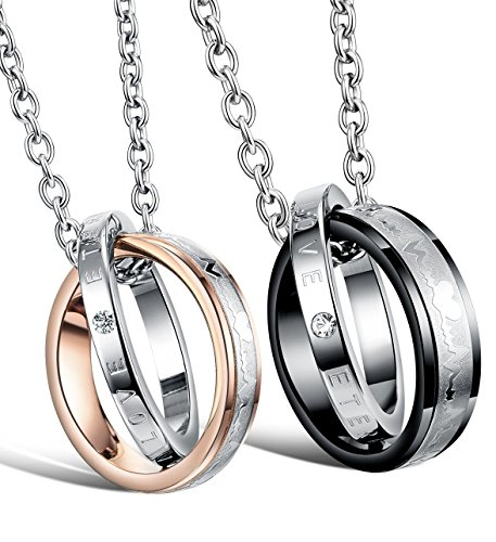 """His & Hers Matching Set Titanium Stainless Steel Couple """"Heart Beat Chart"""" Pendant Necklace in a Gift Box"""