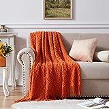 NexHome Throw Blanket for Bed Burnt Orange Textured Knit Blankets with Tassel Fringe Soft & Lightweight Decorative Zigzag Throws (50'x60', Burnt Orange)