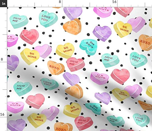 Spoonflower Fabric - Scale Valentines Day Heart Candy Hearts Spots Watercolor Printed on Petal Signature Cotton Fabric by The Yard - Sewing Quilting Apparel Crafts Decor