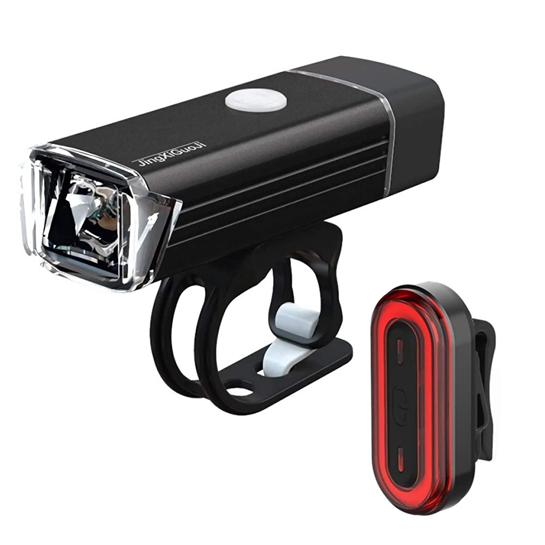 洞察力洞察力系統的JingXiGuoJi 自転車ライト 前/後照灯 USB充電式 自転車LEDヘッドライト 高輝度 4モード対応 10時間連続点灯 ホイールライト 取り付け簡単 防水 防振 軽量 StVZO前照灯規格適合品 懐中電灯兼用LEDバルブライト 6モードLEDテールライト付き