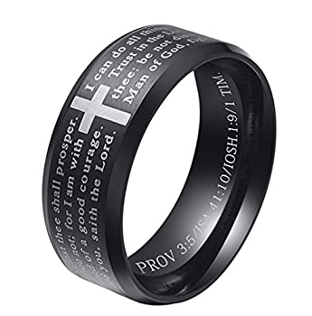 INRENG Men s Stainless Steel Bible Verse Christian Lord s Prayer Cross Ring Wedding Bands Black Size 10
