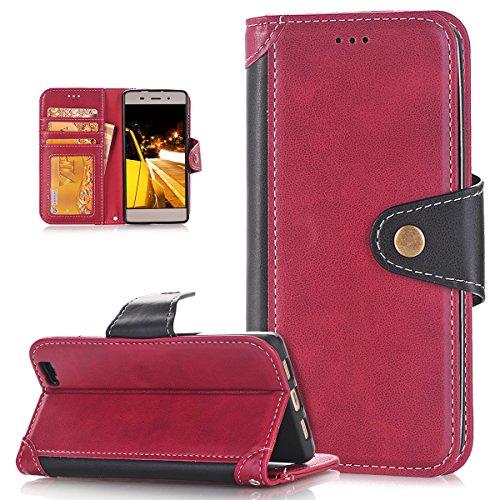 ikasus Coque Huawei P8 Lite Etui,Couture couleur Etui Housse Cuir PU Flip Case Cover Wallet Coque Etui Carte crédit Logement Poches Case Coque Housse Etui pour Huawei P8 Lite,Rouge+Noir
