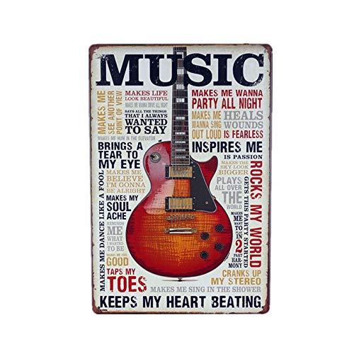 Jinlyp Country Musique Rock Guitare rétro métal étain Signe Art Affiche café Bar décor à la Maison Plaque Plaque en métal 7