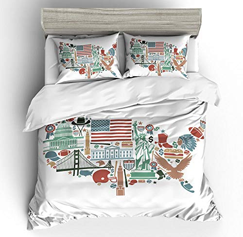 General brand 3 Pieces Bedding 3D Pattern Printed White Fabric And Usa Map 200x200cm Zipper Closure Duvet Cover with 2x50x75cm pillow case Soft Microfiber Quilt Cover Set for Child adult
