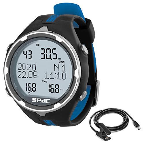 SEAC Unisex-Adult Action Tauchcomputer Data Kabel für Gerätetauchen und Freediving, schwarz/blau + USB, standard