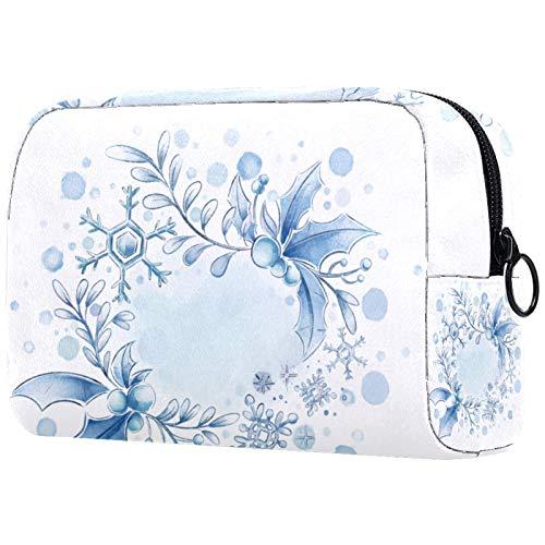 KAMEARI Kosmetiktasche Aquarellblau Schneeflocke & Beere große Kosmetiktasche Organizer Multifunktionale Reisetasche