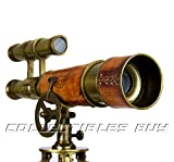 A Table Décor Telescope Vintage Marine Gift Functional Instrument Collectibles Gift Item (Brass Antique + Leather)