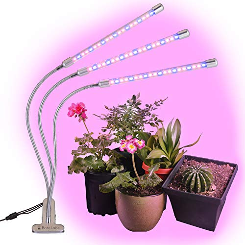 Brite Labs LED Grow Lights for Indoor Plants and Seedlings, Triple Head Plant Growing Lamps with 60 Full Spectrum Bulbs, Programmable Timer Allows Auto On Off, Adjustable Gooseneck with Desk Clip On