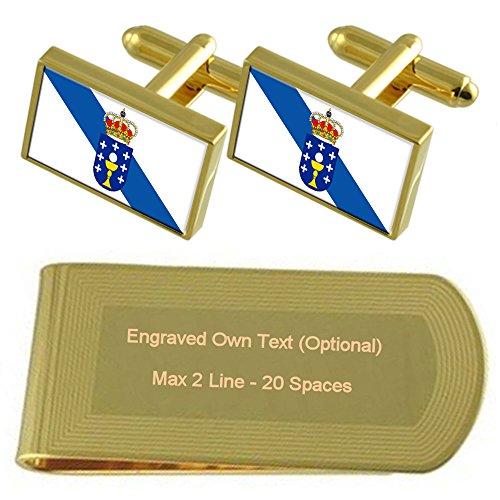 Galicia Bandera de tono Oro gemelos Money Clip grabado Set de regalo