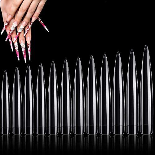 120 Pcs Oval Stiletto Nail Tips Long Clear Half Cover False Nail Art Tips, Sharp End False Nails Tips Acrylic Fake Nail