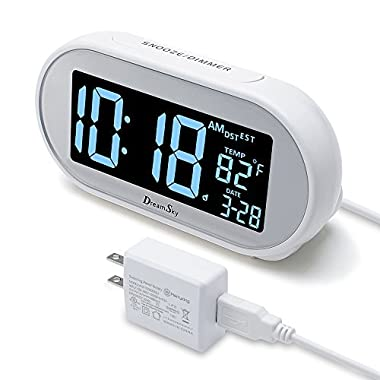 DreamSky Auto Time Set Alarm Clock With Snooze And Dimmer , Charging Station/Phone Charger With Dual USB Port .Auto DST Setting, 4 Time Zone Optional, Battery Backup.