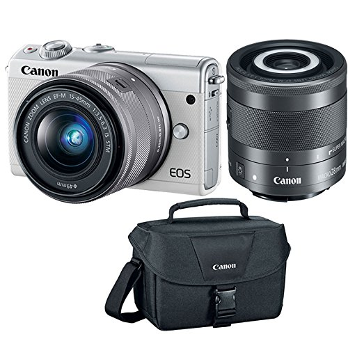 Canon EOS M100 24MP Mirrorless White Digital Camera + EF-M 15-45mm & 28mm is STM Lens