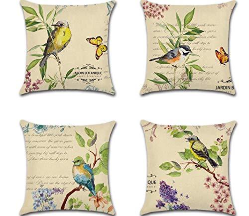 La nueva funda de almohada clásica de flores y pájaros, 4 fundas de almohada con impresión digital de flores y mariposas, funda de cojín decorativa para sofá (45 x 45 cm)