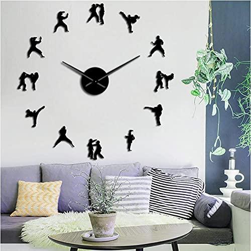 JKLMZYT Atleta Lucha Espejo Pegatinas de Pared Karate Taekwondo Gran Reloj de Pared DIY Relojes de Pared decoración de Sala de Estar Horologe-27INCH