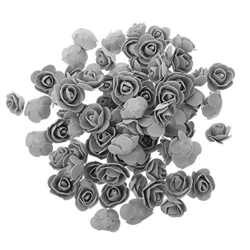 KESYOO Künstliche Rosen Blumen Kunstblumen Rosenköpfe Schaumrosen Foamrosen Gefälschte Kunstrose für DIY Hochzeit Blumensträuße Braut Zuhause Dekoration 100 Stück (Grau)