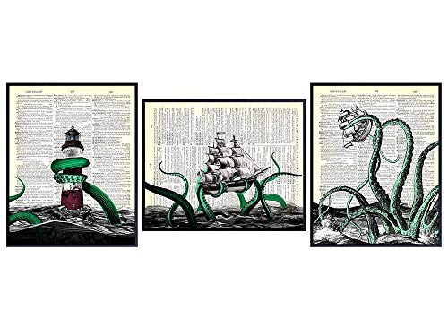 Octopus Kraken Dictionary Wall Art Print Set - Upcycled Vintage 8x10 Home or Office Decor for Bathroom, Bath, Beach or Ocean House - Unique Gift for Nautical, Ocean, Sea Lover - Unframed Posters