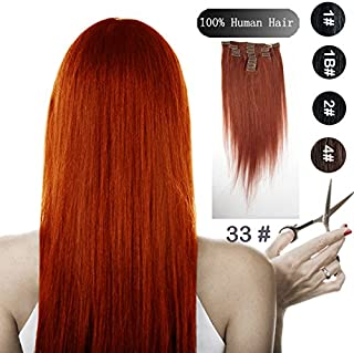 No Shed No Tangle SINA 24 Brazilian Human Straight Hair Extensions 9pcs/set Clip in Hair Extension #33 Rich Copper Red Color