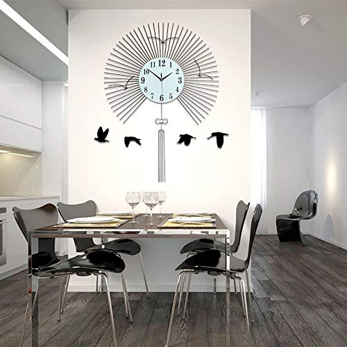 Bradoner Moderno minimalista moda sala de estar reloj de pared creativo estilo chino dormitorio decoración colgante mesa swing mute reloj