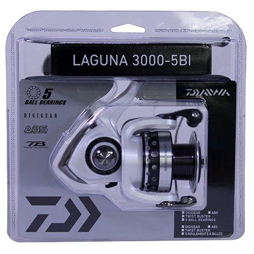 Daiwa LAGUNA4000-5BI-CP Laguna 5Bi Spinning Reel, 4000, 5.3: 1 Gear Ratio, 6 Bearings, 37' Retrieve Rate, 13.20 lb Max Drag, Clam